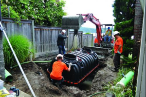 A Advanced Workers installing the Septic Tank